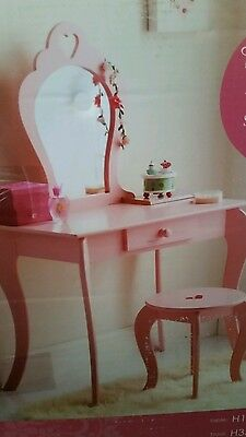 New Childrens Wooden Pink Amelia Vanity Set/ Dressing Table With Mirror & Stool.