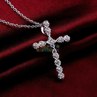 Fashion 925 Sterling Silver Plated Crystal Cross Pendant Necklace Chain Jewelry
