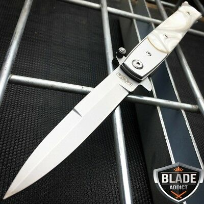"9"" Italian  Milano Stiletto Tactical Spring Assisted Open Pocket Knife Pearl edc"