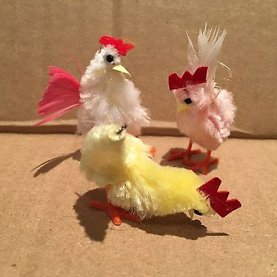 Vintage Set of 3 Chenille Feather Handcrafted Rooster Chick Bird Easter Figures