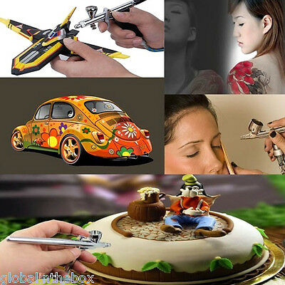 Dual Action Airbrush Art Paint Pen Gun Sprayer Gravity/Sunction Feed Tattoo Cake