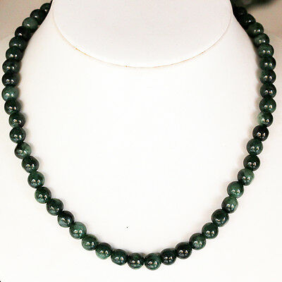 """19"""" Natural Jadeite ( A Jade ) Beads Necklace *** Untreated / P7638"""