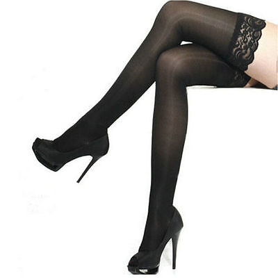 Sexy Sheer Lace Top Band Stay Up Thigh High Stockings Pantyhose black