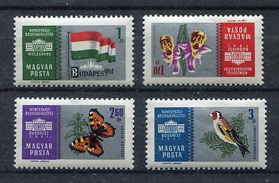 s7774) HUNGARY 1961 MNH**  Budapest stamp expo 4v orchids, birds, butterflies