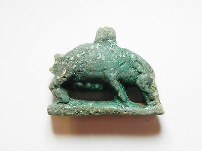 Zurqieh - 50B- Ancient Large Faience Sow Amulet, 1075 - 600 B.c • CAD $630.00