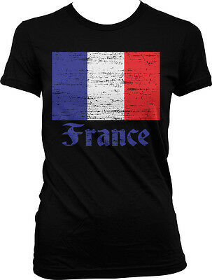 France Distressed Country Flag - French Pride  Juniors T-shirt