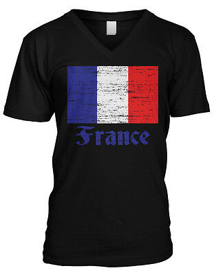 France Distressed Country Flag - French Pride  Mens V-neck T-shirt