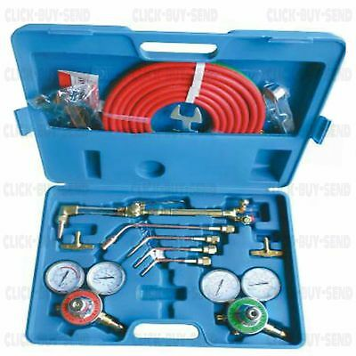Oxy Acetylene Gas Welding Cutting Kit Set Oxygen Regulator Torch Tips Hose New