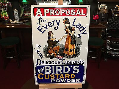 "13 x 20 BIRDS Custard Powder Porcelain British UK Advertising Sign ""WATCH VIDEO"""