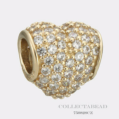 Authentic Pandora 14kt Gold Pave Heart Bead 750828CZ  *SPECIAL*