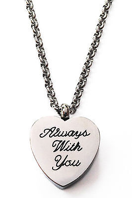 Always With You Urn Locket Cremation Jewelry Necklace Memorial Stainless Steel