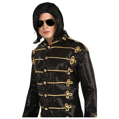 Michael Jackson Costume Wig & Glasses Adult 90s Pop Star Halloween Fancy Dress