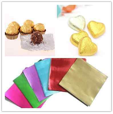 100pcs Square Foil Wrappers for Candy Chocolate Sweets Confectionery