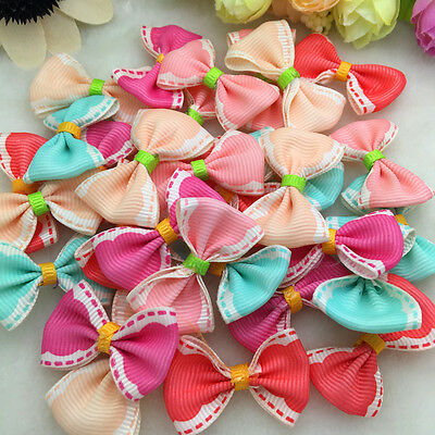 10Pcs Satin Ribbon Organza Lace BOW Appliques Craft Wedding Decoration QQ03