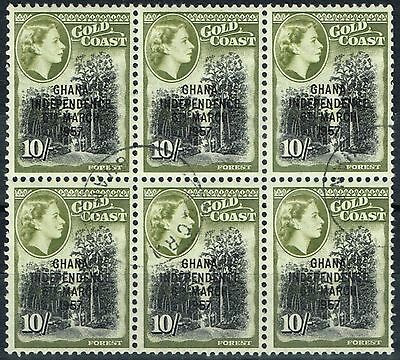 Ghana 1957 10s Black & Olive Green SG181 Superb Used Block of 6