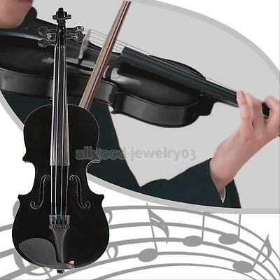 Basswood 1/8 Full Size Acoustic Violin Fiddle Black with Case Bow Rosin New