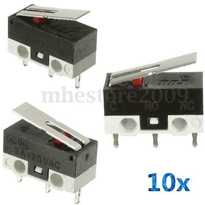 10Pcs 2A 125V  Micro Limit Switch Lever Roller Arm Actuator SPDT Snap Action LOT