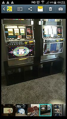 2 Slot Machines with stand and barstools