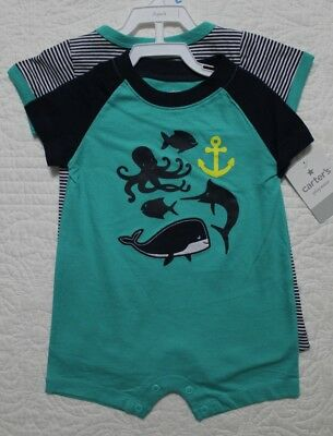 New Baby Boys Carters 2 Pack Shorts Romper Great Catch Ocean Nautical Fish Sz 6M