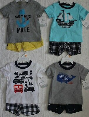 New Baby Boys Carters 2 Piece Set Shirt And Shorts Cars Pirate Boat Whale
