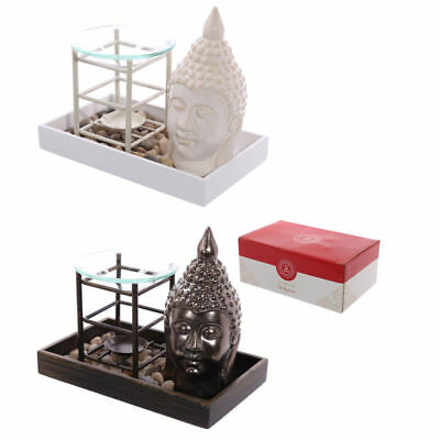 New Oil Burner Buddha White /gilded Ceramic Metal & Glass Zen Garden Puck Ob238