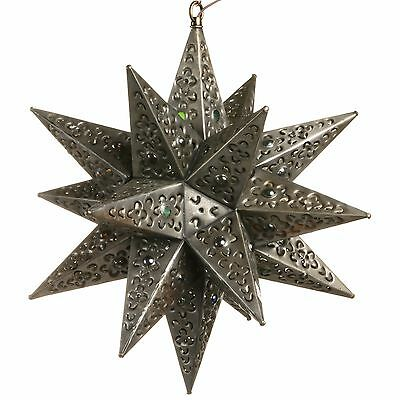 14 Inch Tin Star Light - Flower Cut with Marbles