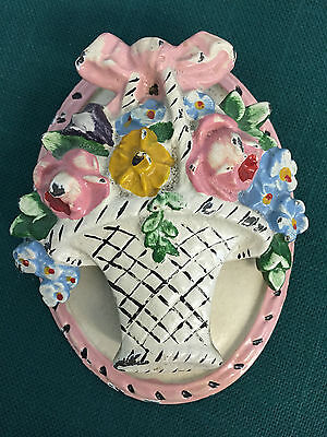 Antique Painted CAST IRON DOOR KNOCKER #13 Basket Of Flowers Original