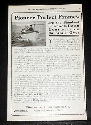 1908 Old Magazine Print Ad, Pioneer Boat & Pattern Co, You Build A Perfect Boat!