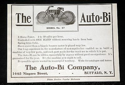 1908 Old Magazine Print Ad, Auto-Bi Model No. 47 Motorcycle, 3 Hp, 4 To 40 Mph!