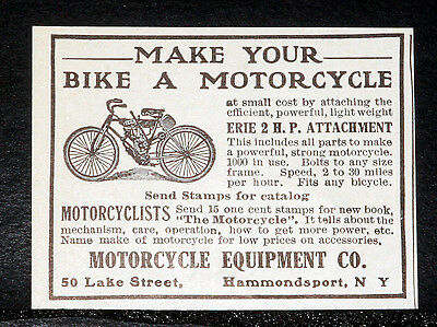 1908 Old Magazine Print Ad, Make Your Bike A Motorcycle, Erie 2 H.p. Attachment!