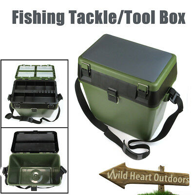 HEAVY DUTY FISHING TACKLE/TOOL BOX Live Bait Bucket W Shoulder Strap