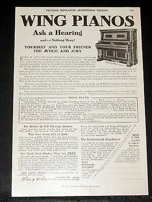 1908 Old Magazine Print Ad, Wing Pianos, Yourself & Your Friends, Judge & Jury!