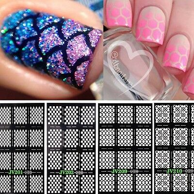 12 Tips Nail Art Manicure Stencil Stickers Nails Stamping Vinyls DIY