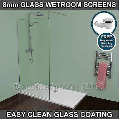 Wet Room Walk In Shower Enclosure 8mm Metro Glass Screen Panel Stone Tray