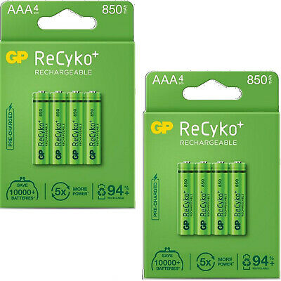 8 x AAA GP Rechargeable 800 mAh recyko Batteries 800mAh Always ready