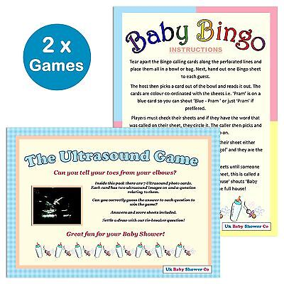 BABY SHOWER 2 GAMES PACK - Bingo & Ultrasound Game 20 Players, Unisex Boy Girl
