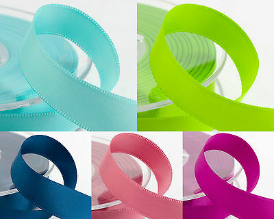 New Colours 25 METRES DOUBLE SIDED SATIN RIBBON 6mm, 10mm, 16mm, 25mm, 38mm