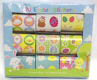 270 Fun Child Kid Easter Stickers Chick Bunny Eggs Lamb Craft Card 9 Rolls Of 30