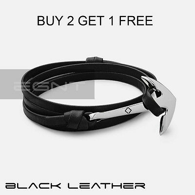 EGNT Leather Anchor Bracelet MENS WRISTBAND ANKLET UNISEX WOMENS BLACK NEW ROPE