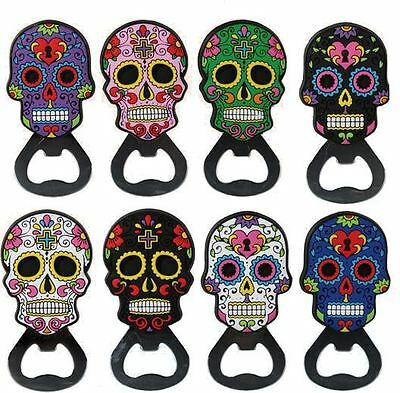 Assorted Colours Skull Bottle Opener With Magnet Gift Fridge Kitchen Tool Decor