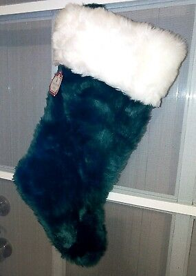 "Green TRIM A HOME CHRISTMAS STOCKING DECORATION 17"" inch"