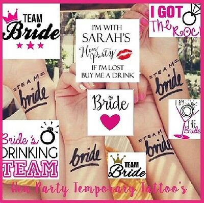 Bride Hen Party Weekend Temporary Tattoos Body Art Wedding Favors Personalised
