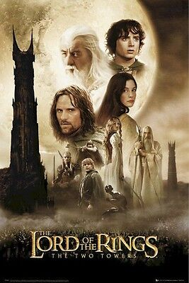 LORD OF THE RINGS MOVIE POSTER ~ TWO TOWERS CAST 24x36 Peter Jackson Hobbit