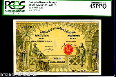 "Portugal P108 10,000 Reis 1910 ""The Artisans"" Pcgs 45Ppq ""Finest, Only 1 Pcgs Kn"