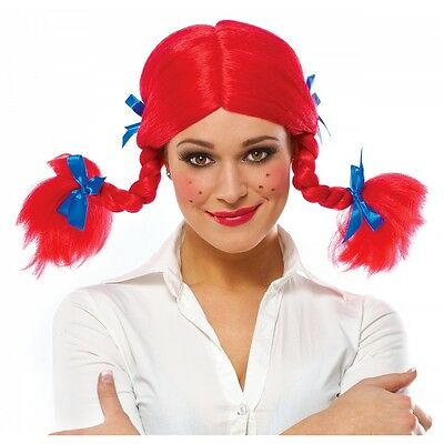 Funny Pigtail Braids Red Wig Adult Halloween Fancy Dress Costume Accessory