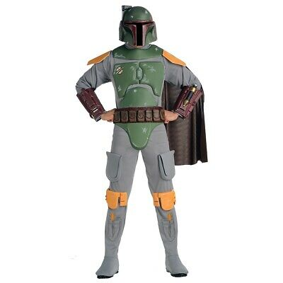 Deluxe Boba Fett Adult Costume Star Wars Bounty Hunter Halloween Fancy Dress