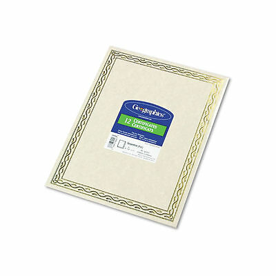 Foil Stamped Award Certificates, 8-1/2 x 11, Gold Serpentine Border, 12/Pack NEW