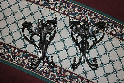 Stunning Winged Gargoyle Griffin Wall Mount Sconce Candle Holder-Pair-Steel Mtl