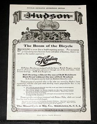 1908 Old Magazine Print Ad, Miami Cycle Mfg. Hudson, The Boom Of The Bicycle!