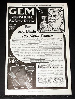 1909 Old Magazine Print Ad, Gem Junior Safety Razor & Bar, Two Great Features!